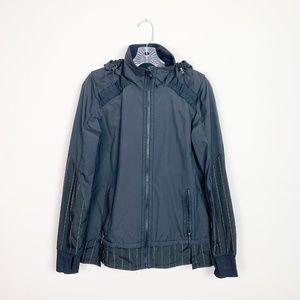 Lululemon | black windbreaker hooded jacket size 6